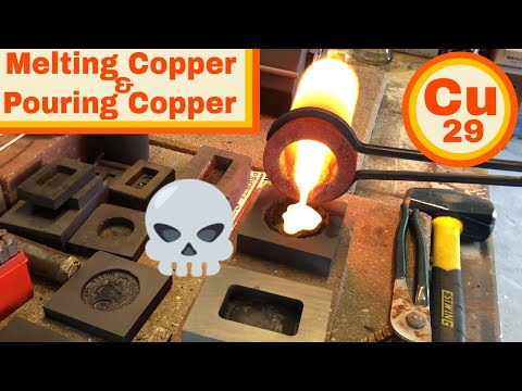 Melting Scrap Copper - Pouring Copper