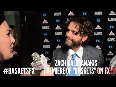 "Zach Galifianakis at the premiere of FX's new Clown Comedy ""Baskets"" #BasketsFX"