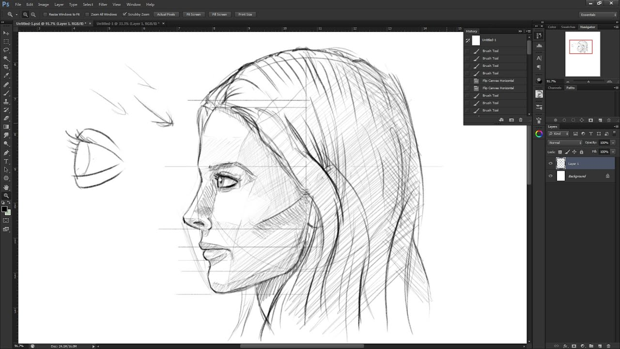 How to draw the female face side view: Drawing the human ...