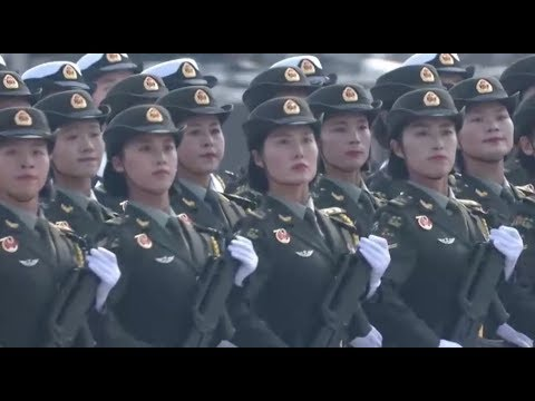 Female soldiers march