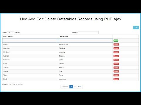 Datatables Live Records Add Edit Delete using PHP Ajax JQuery - YouTube