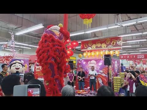 Singapore Feng Yi Dragon and Lion dance Troupe Cai Qing Performances at AMK FairPrice on 3/2/18