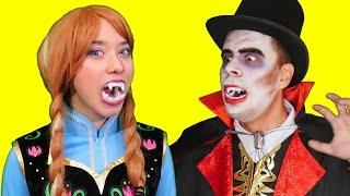 Frozen Anna vs VAMPIRE Spiderman! Superhero fun in Real Life Movie
