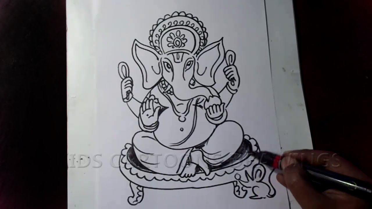 How To Draw Lord Ganesha Sitting Position Ganesh Chaturthi 2020 Drawing Ganapathi Bappa Drawing Youtube