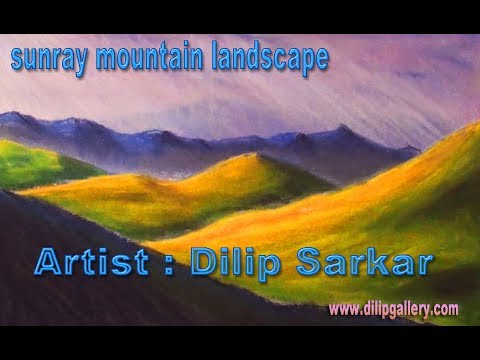 How to draw | sun ray mountain landscape | with soft pastels