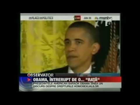 Barack Obama, întrerupt de un ...măcănit