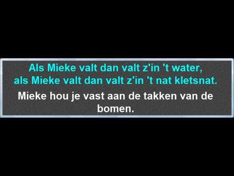 Mieke Hou Je Vast, instrumentaal met karaoke tekst