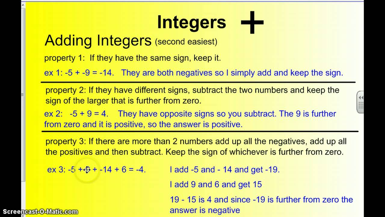 Worksheets Integers Rules review of integer rules youtube rules