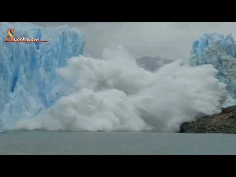 Shocking glacier calving create tsunami wave | glacier | gla