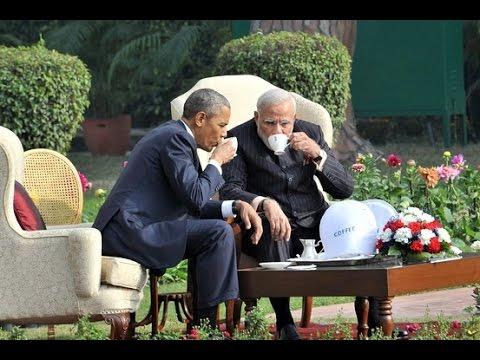 Narendra Modi, Obama walk, talk and have tea at Hyderabad House