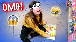 FUNNY BLINDFOLDED SHOPPING FOR SLIME & CLOTHES AT TOKYO WORLD JUSTICE CLAIRES and WALMART! OMG!