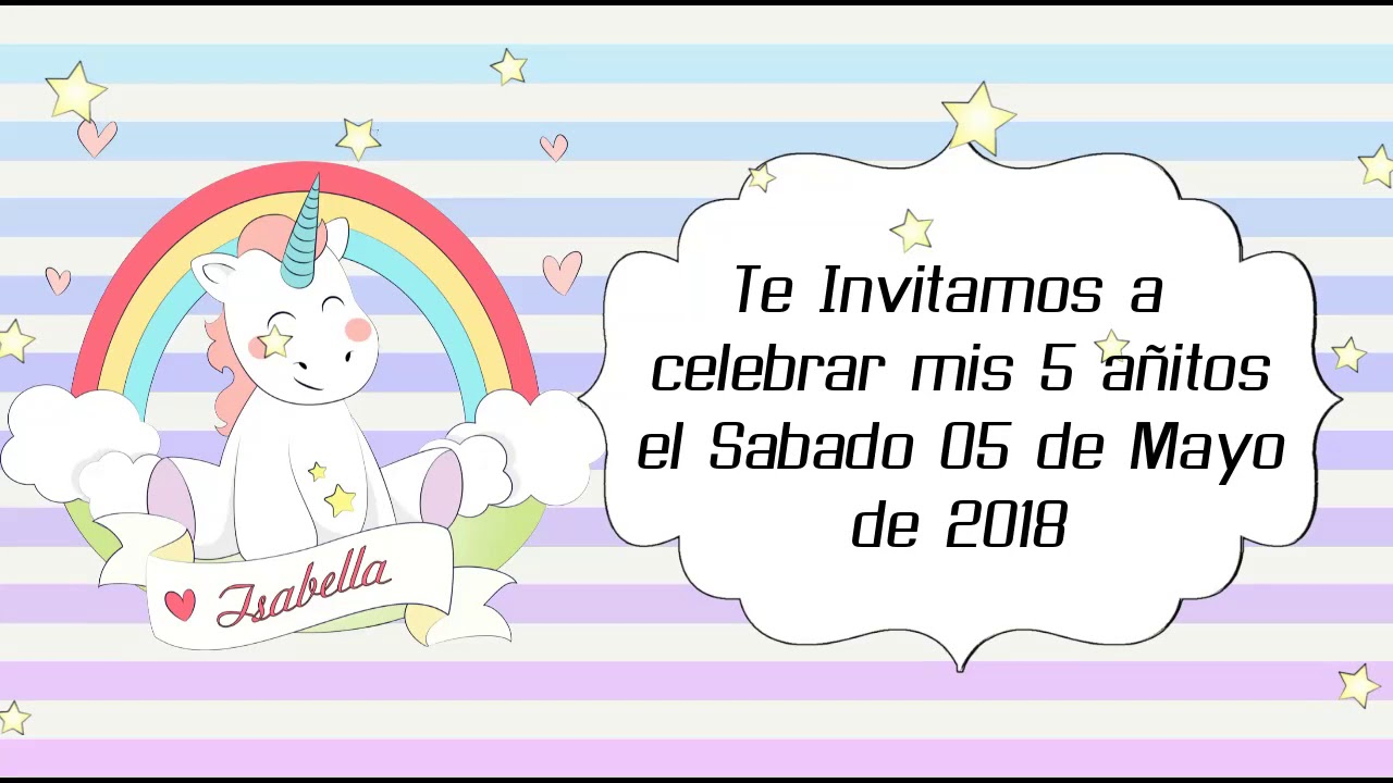 Tarjeta De Invitacion Virtual Video De Unicornios
