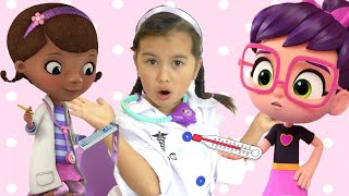 Abby Hatcher and Doc Mcstuffins. Pretend play with a doctor's toys