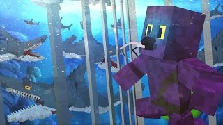 Jaws Movie - SHARK CAGE ATTACKED BY HUMAN EATING SHARKS! (Minecraft Roleplay) Finale Part 1!