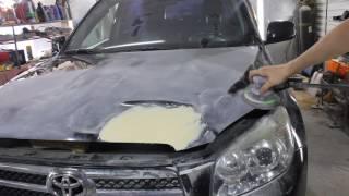 Toyota rav4 ремонт и покраска капота, ремонт гнилого порога