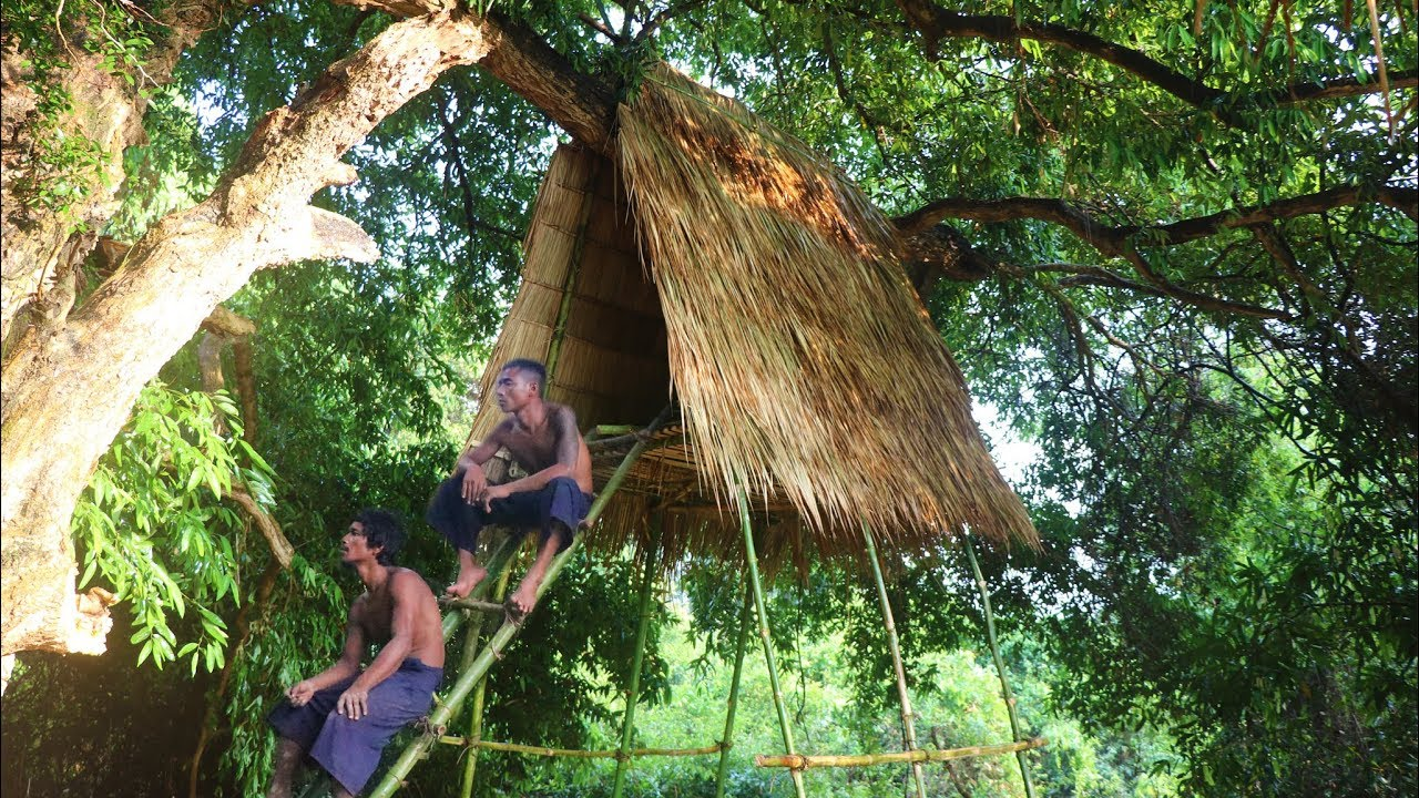 Build Tree House With Bamboo Youtube