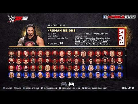 WWE 2K18 Roster Concept : (RAW\ SDLIVE\ Cruiserweight\ NXT\ Hall Of Fame\ Celebrity Superstars)