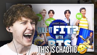 THIS IS CHAOTIC! (Will It Fit? with BTS on The Tonight Show Starring Jimmy Fallon | Reaction)