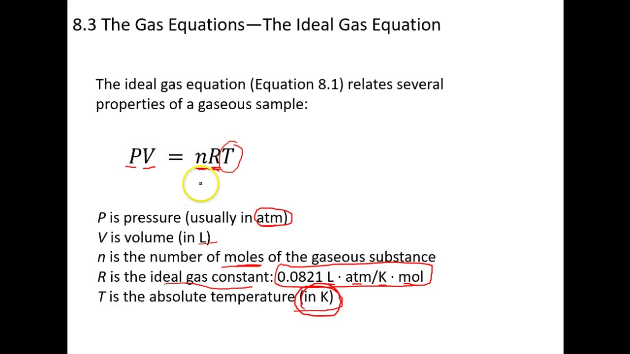 8 3 Ideal Gas Law - YouTube
