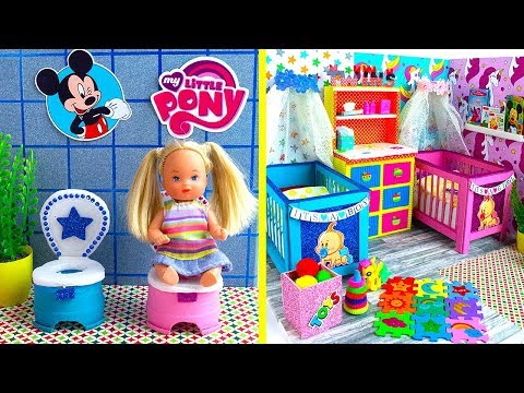 25 DIY Barbie Baby Twins Hacks + Nursery Room! Baby Bed Canopy, Baby Potty Pots...and More!