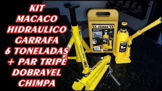 Como Usar KIT Macaco Hidráulico Tipo Garrafa 6 Toneladas + Par tripé dobrável CHIMPA (Unboxing)