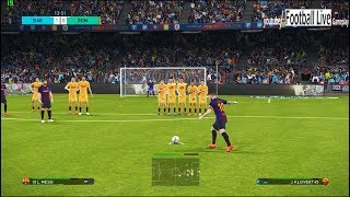 PES 2018 | FC Barcelona vs Roma | Messi Free Kick Goal | Gameplay PC