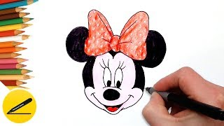 How to Draw Minnie Mouse Step by Step Easy and Coloring with Colored Pencil for Kids