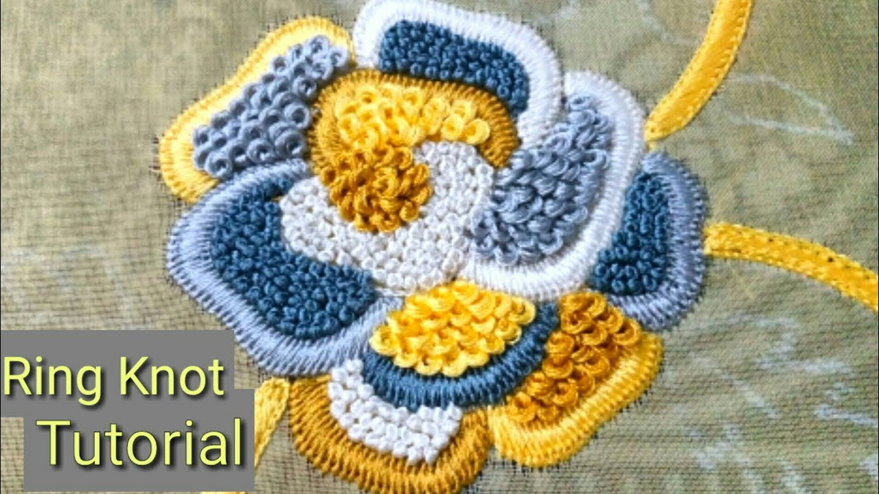 Hand Embroidery Ring Knot Embroidery Challah Work Flower Design