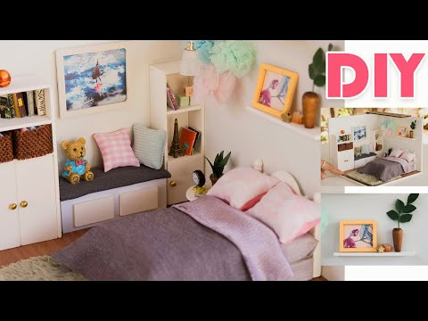 "DIY Dollhouse Kit –  Girl Pom poms Bedroom ""The Dream Attic"" My Version"
