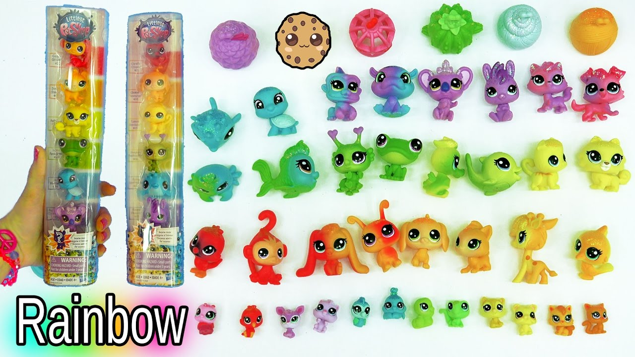 lps rainbow glitter animal haul with colorful babies and surprise