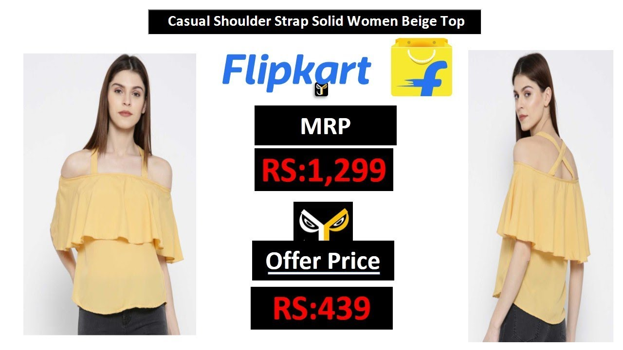 cce23a5736cf Casual Shoulder Strap Solid Women Yellow Top - YouTube