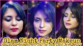 Glam Night Party Makeup Tutorial |Beach Waves Hair Tutorial, Indian Wedding Makeup Look, Glam Makeup
