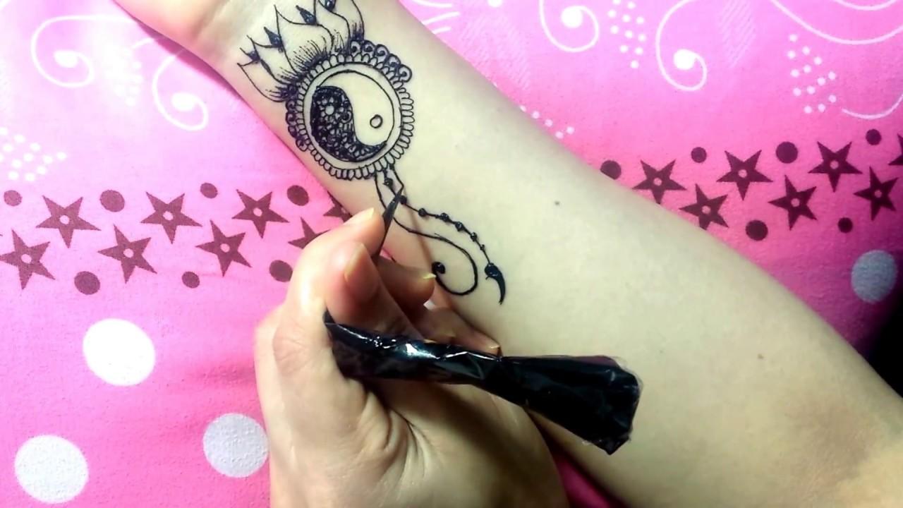 How To Yin Yang Mehendi Design On Wrist Tutorial Henna Temporary