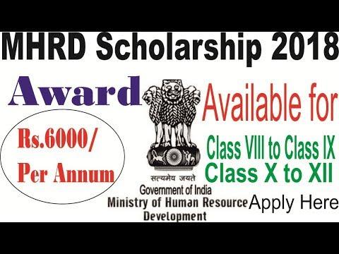 MHRD Scholarship 2018 www.mhrd.gov.in Scholar Application Form