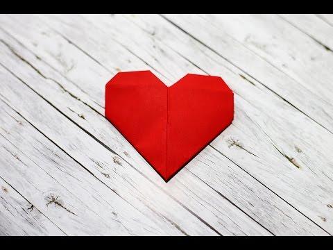 How to make a paper heart - Origami - วิธีพับกระดาษรูปหัวใจ