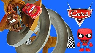 CARS 2 Dirt Track Raceway Superhero Spiderman Superman Disney Pixar Metallic Lightning McQueen