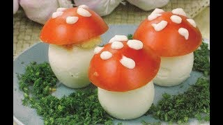 """Фаршированные яйца  """"Мухоморчики"""", вкусно и красиво!"""
