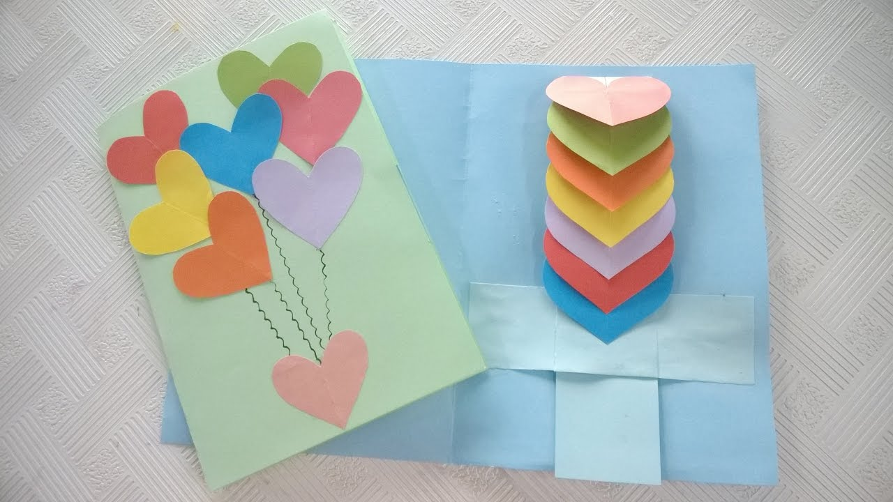 How To Make Rainbow Heart Waterfall Card By Paper Youtube