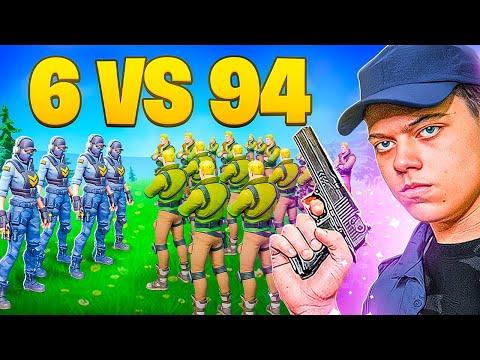 6 POLICIAIS VS 94 LADRÕES NO FORTNITE! - HERO BASE