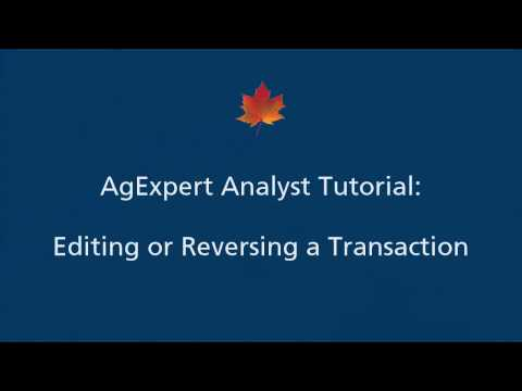 18) AgExpert Analyst Tutorial - Editing or Reversing a Transaction