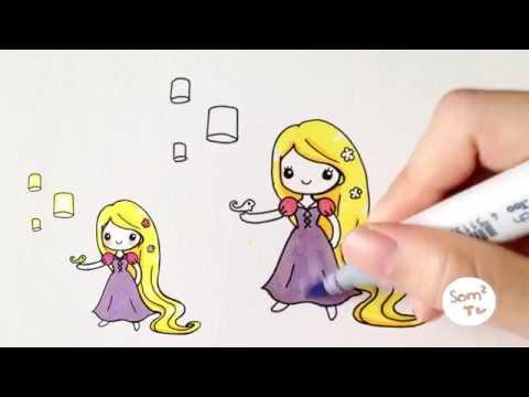 มาวาดเจ้าหญิงราพันเซลกันจ้า ♪ How to draw Rapunzel princess ( so cute version )