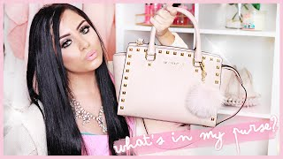 what s in my bag 2015   michael kors selma studded saffiano leather satchel