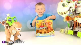 MEGA T-Rex + Triceratops Launcher! Dinosaur Battle Toy Review w/HobbyBear HobbyKidsTV