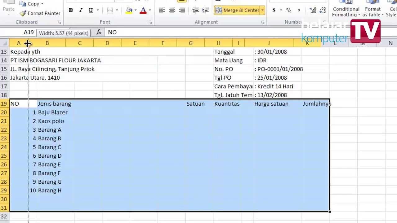 Membuat Invoice Dengan Microsoft Excel