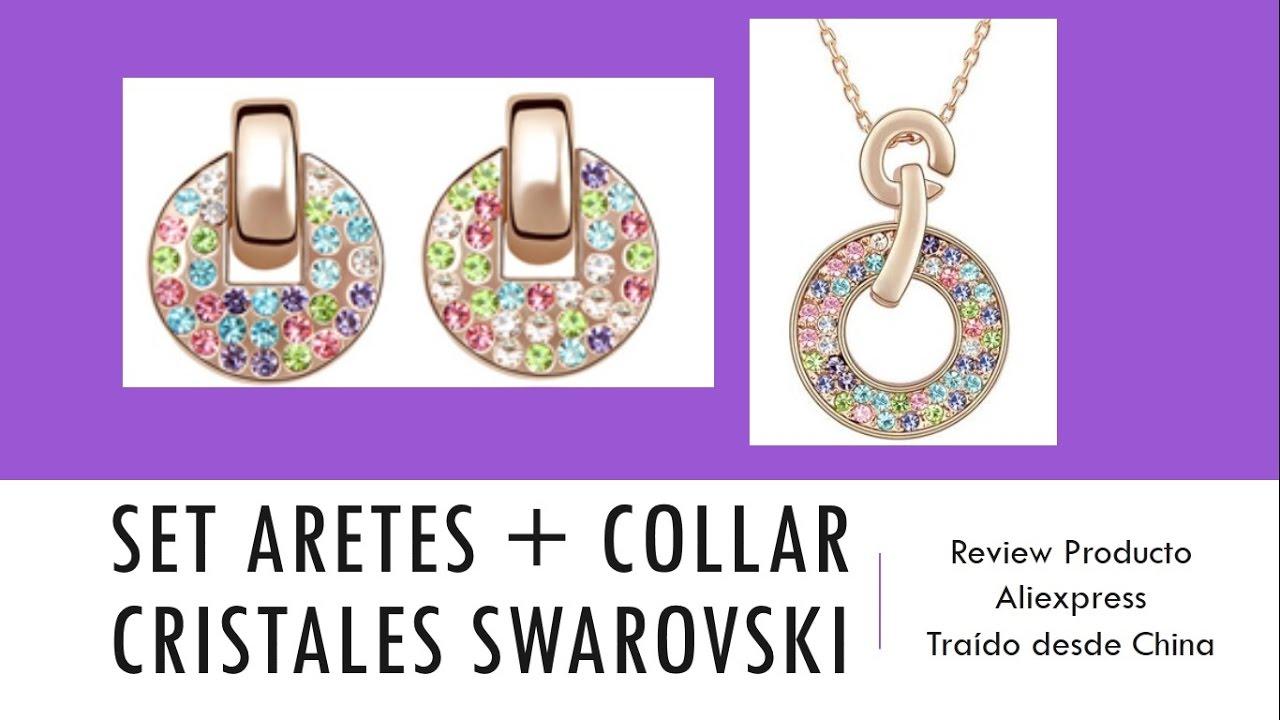 ad2a87500c28 Set Collar + Aretes Cristales de Colores Swarovski - Review - YouTube