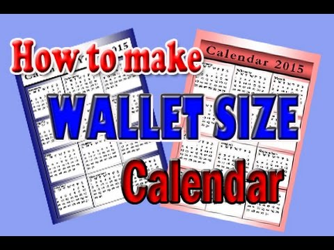 how to make wallet size calendar using Microsoft Publisher (simple
