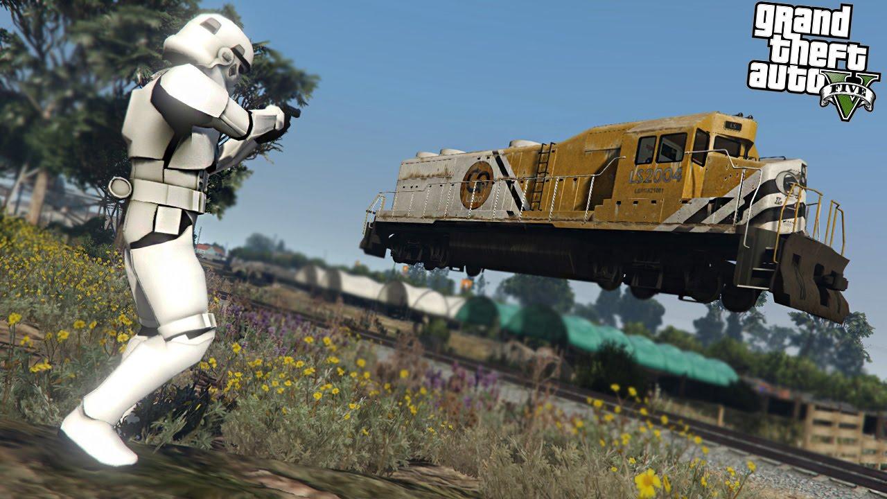 GTA 5 Mods - STORMTROOPER VS THE TRAIN - YouTube