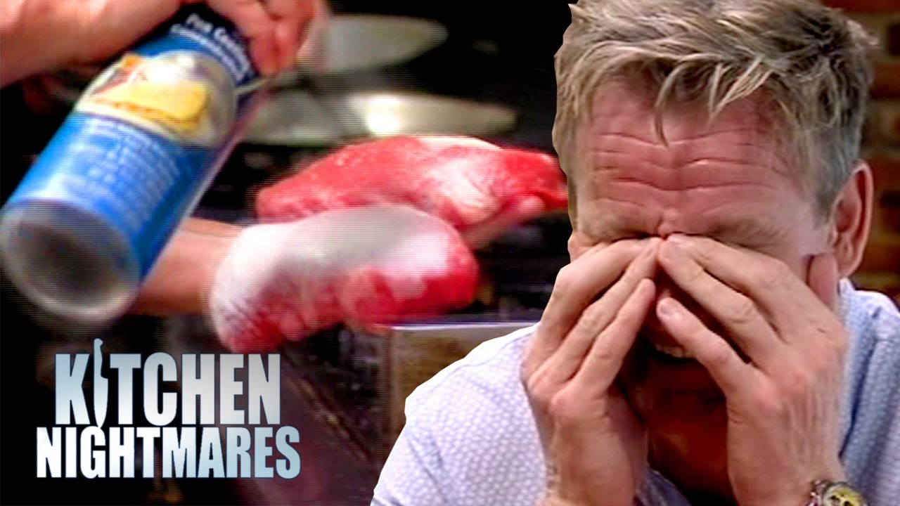 Restaurant Kitchen Nightmares disgusting restaurant sprays their steaks before cooking