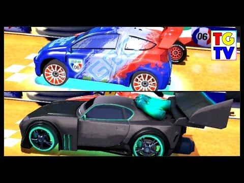 Disney Pixar Cars 2 Screen Race Neon Tuner VS World Grand Prix | Cars Fast as Lightning