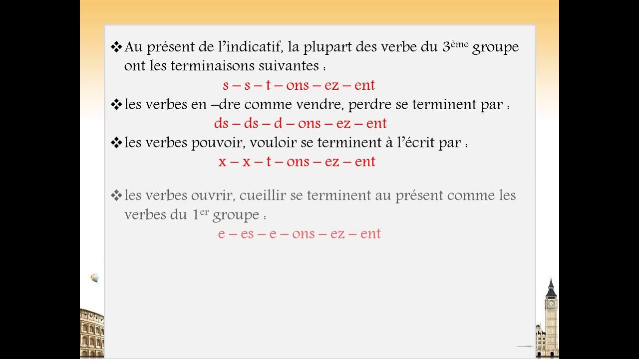 Lecon De Conjugaison Les Verbes Du 3eme Groupe Au Present De L Indicatif Youtube